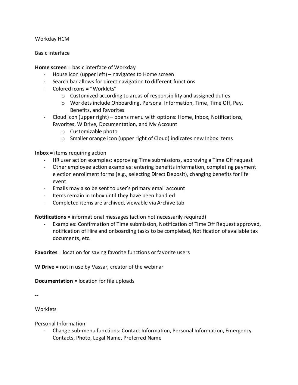 Workday HCM Training Notes docx - Workday HCM - Training Notes pdf