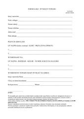 formularz wymiany