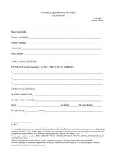 formularz zwrotu tolishop