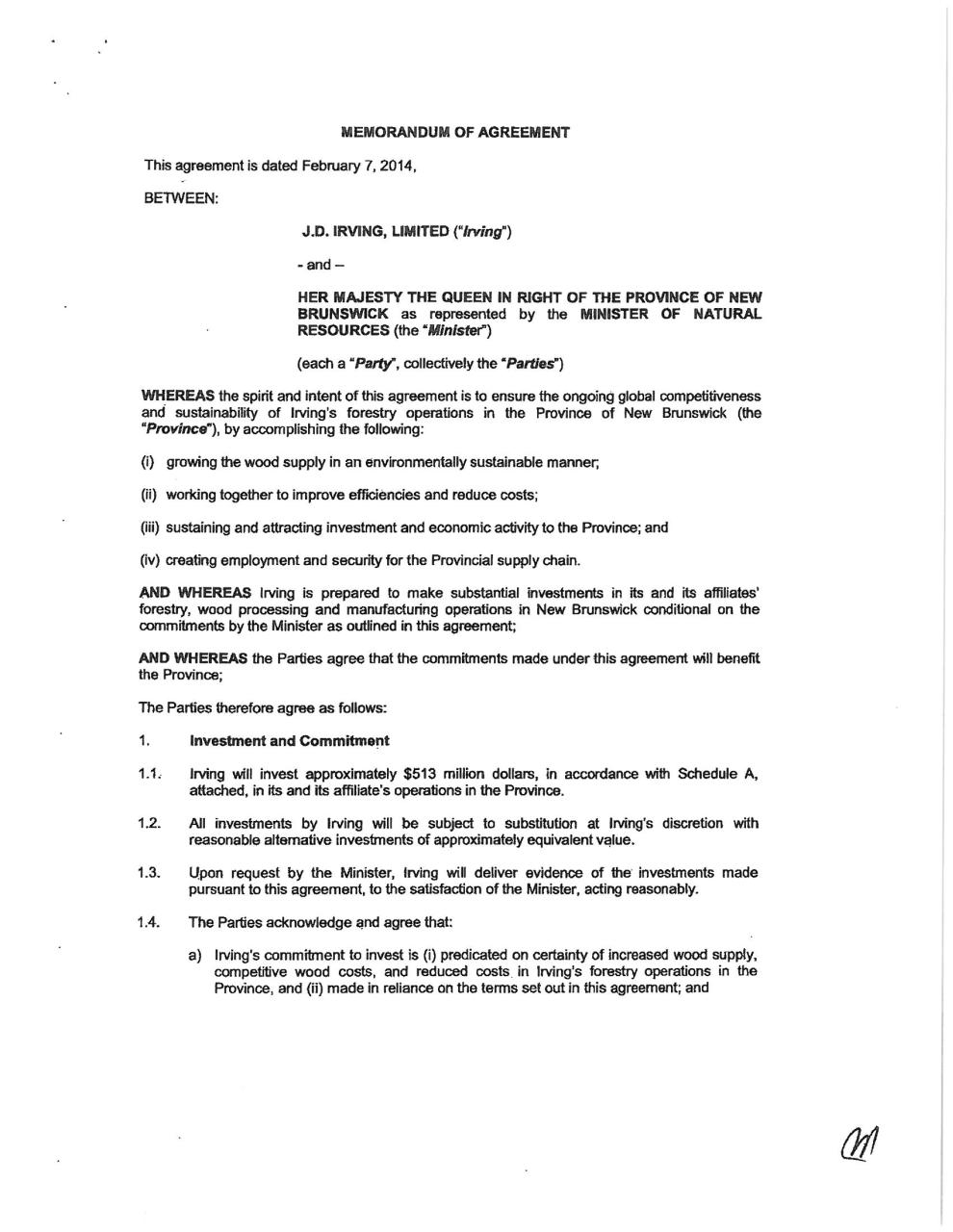 Memorandum of Agreement with JDI - Feb 7 2014.pdf - page 1/10