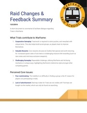 PDF Document raid changes feedback summary