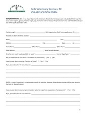 dells vet standard job application form pdf fillable form