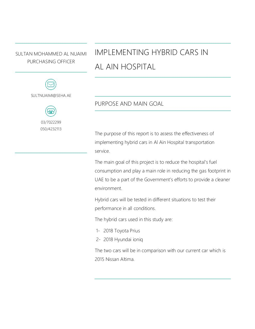 Implementing hybrid cars in Al Ain Hospital.pdf - page 1/8