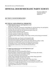 2018 democratic party survey
