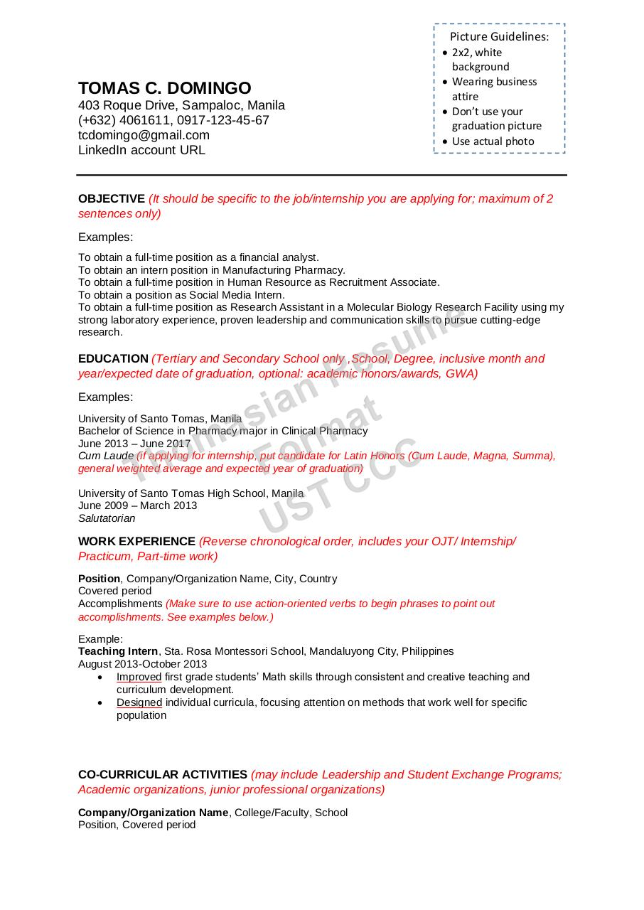 Thomasian Resume Format 17 18 By Myanne Pdf Archive