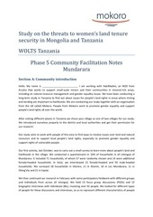 wolts tanzania mundarara community facilitation notes final