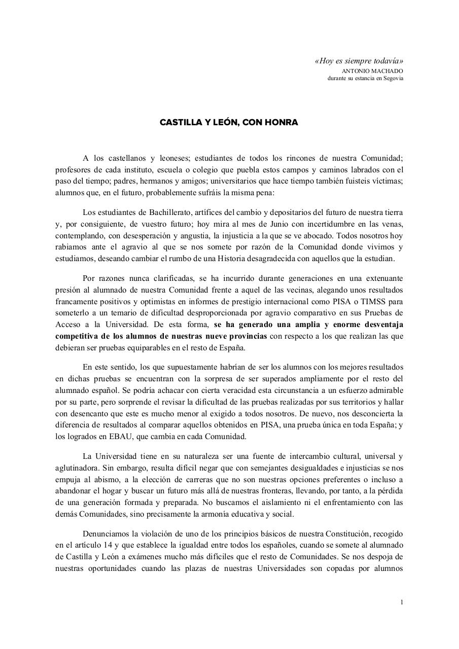 Document preview MANIFIESTO - Castilla y León, con honra.pdf - page 1/3