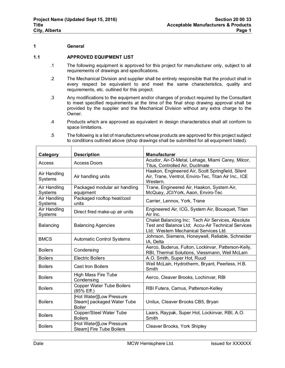 20 00 33 - Acceptable Manufacturers and Products.pdf - page 1/6