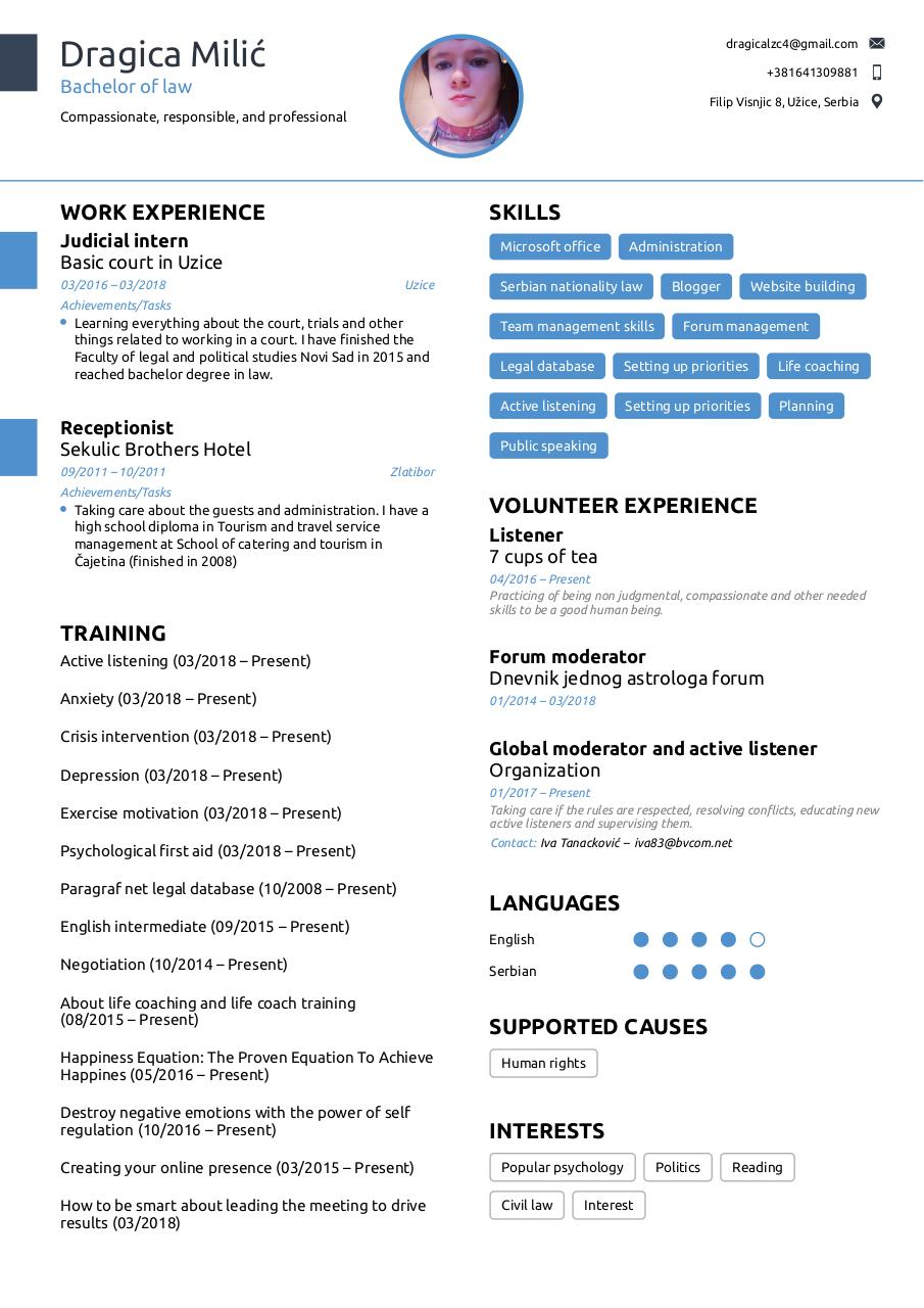 Document preview Dragica's Resume.pdf - page 1/1
