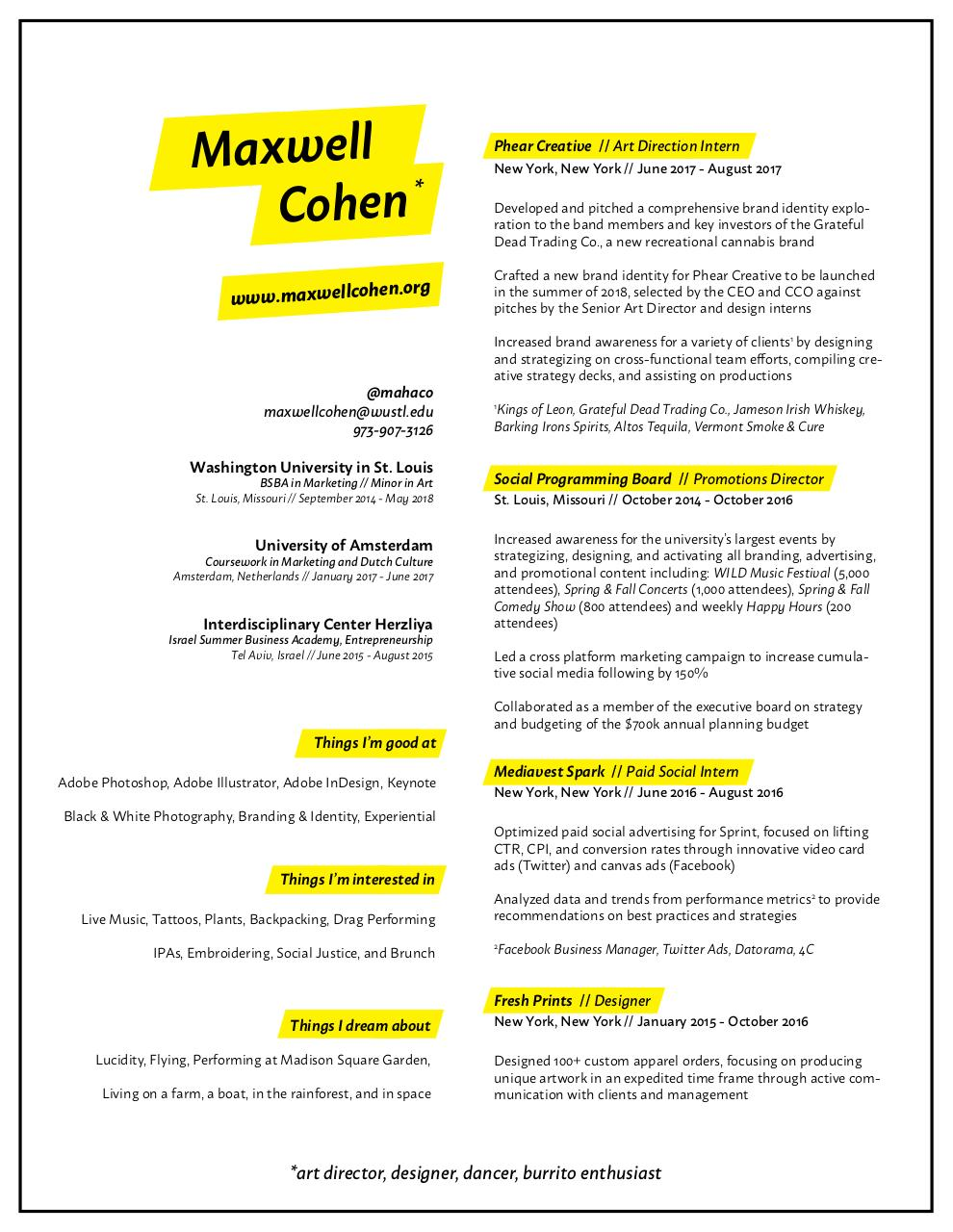 Document preview Maxwell Cohen Resume 2018.pdf - page 1/1