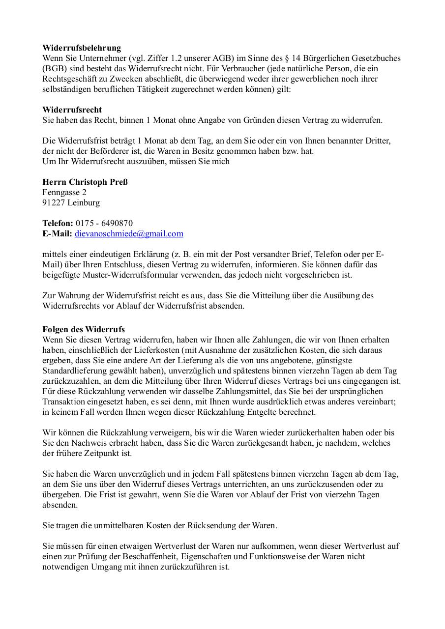 Document preview Widerrufsformular.pdf - page 1/2