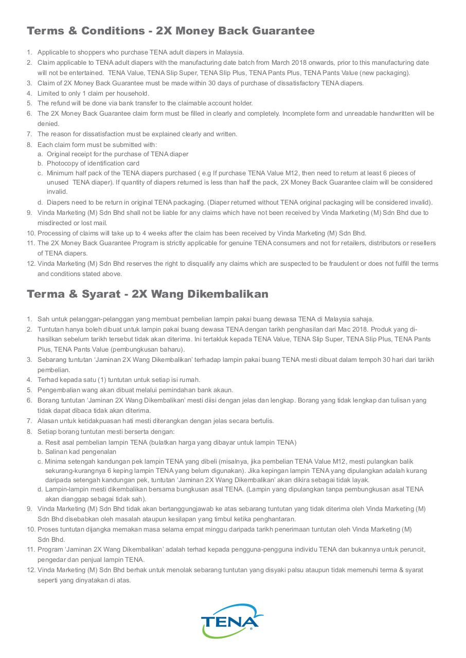Document preview TENA - 2X Money Back Guarantee Claim Form_R2 (FINAL).pdf - page 2/2