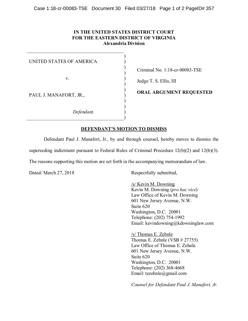 Manafort Motion to Dismiss.pdf - page 1/40