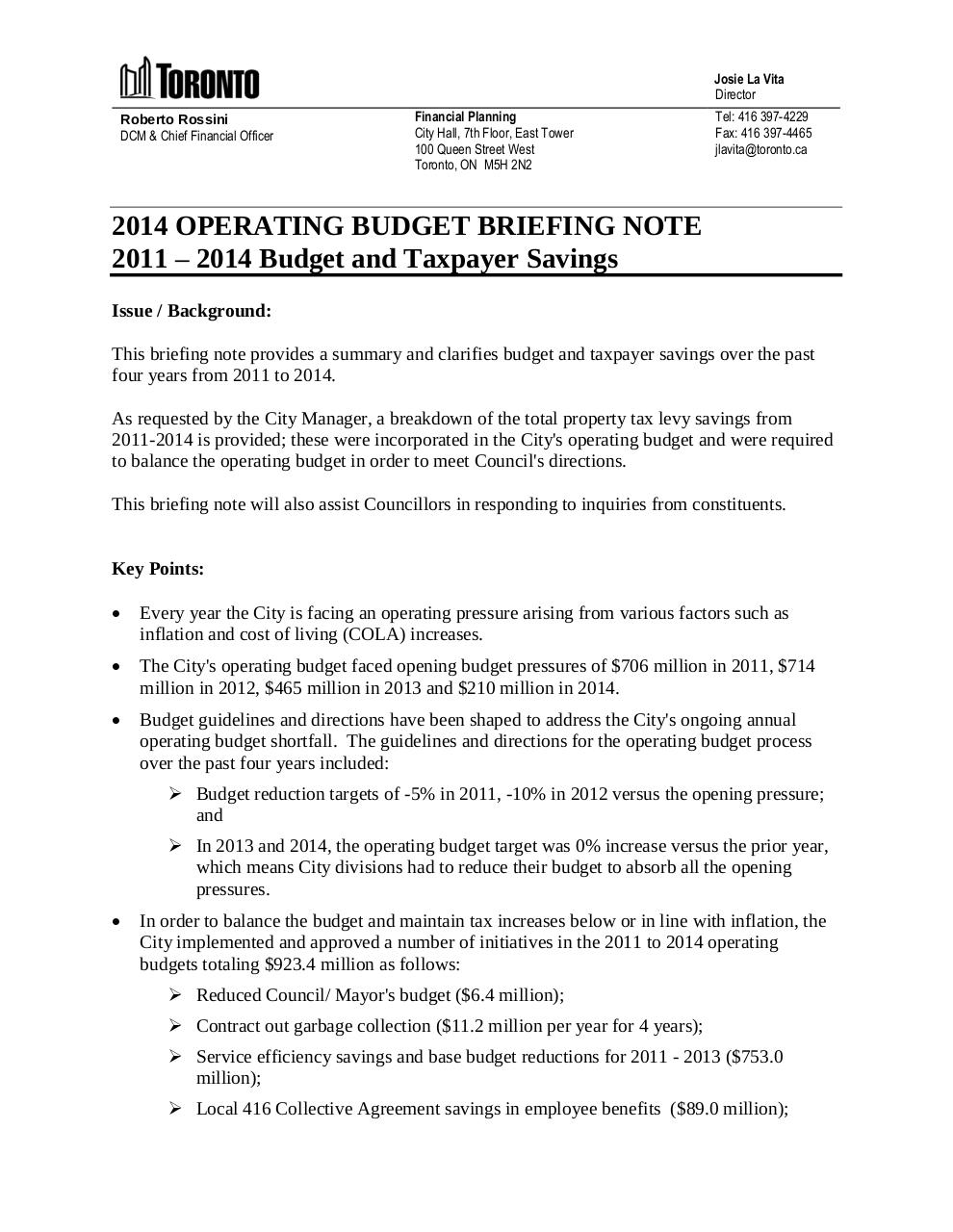 2014 OPERATING BUDGET BRIEFING NOTE SAVINGS.pdf - page 1/6