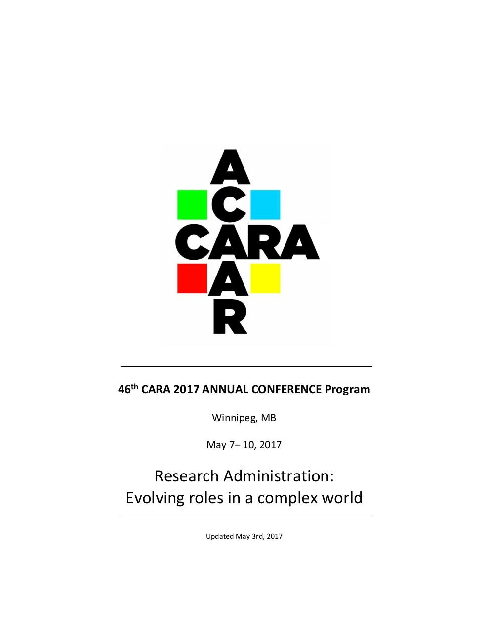 46th CARA 2017 ANNUAL CONFERENCE Program 3May17 (JL).pdf - page 1/36