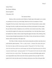 great gatsby essay sydney wilson
