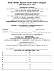 2018softball registration form