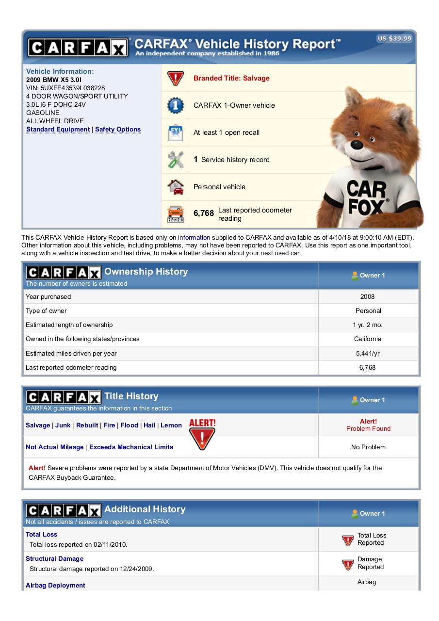 Document preview 5UXFE43539L038228_Carfax.pdf - page 1/5