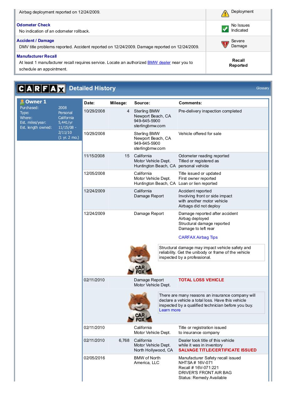 Document preview 5UXFE43539L038228_Carfax.pdf - page 2/5