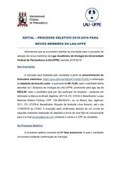 edital do processo seletivo lau ufpe 2018 2019