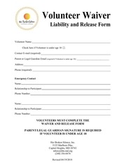 PDF Document volunteer waiver liability and relase form