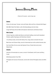 summer dining menu