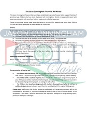 the jason cunningham financial aid award