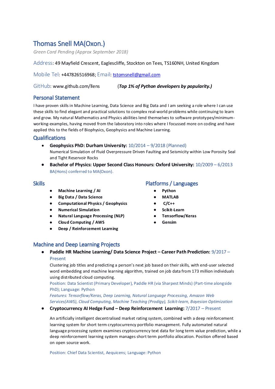 Thomas Snell Curriculum Vitae Current by Thomas Snell - PDF