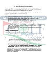 the jason cunningham financial aid award