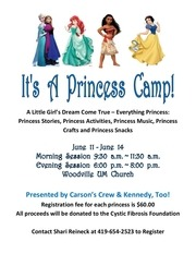 2018 princess camp information sheet