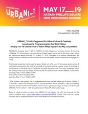 urbani t press release programming vf