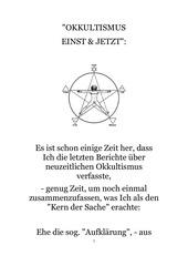 okkultismus einst und jetzt