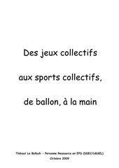 des jeux colletifs aux sport collectifs