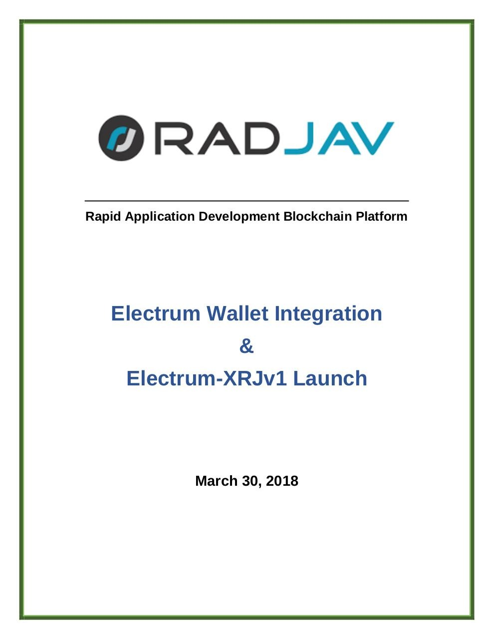 Document preview RadJav_Report__Electrum_Wallet_Integration_and_ElectrumXRJv1_Launch.pdf - page 1/5