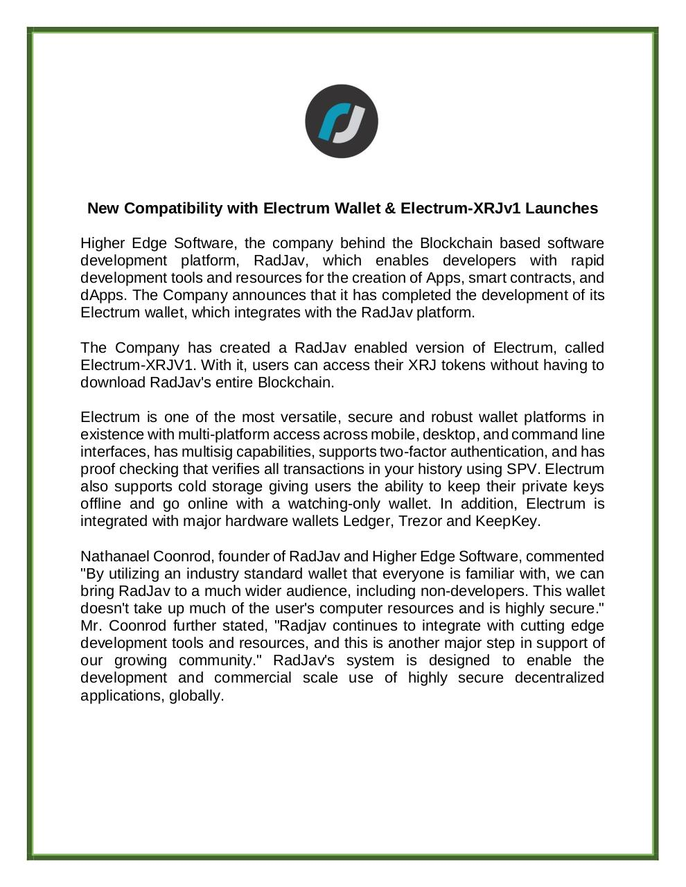 Document preview RadJav_Report__Electrum_Wallet_Integration_and_ElectrumXRJv1_Launch.pdf - page 2/5