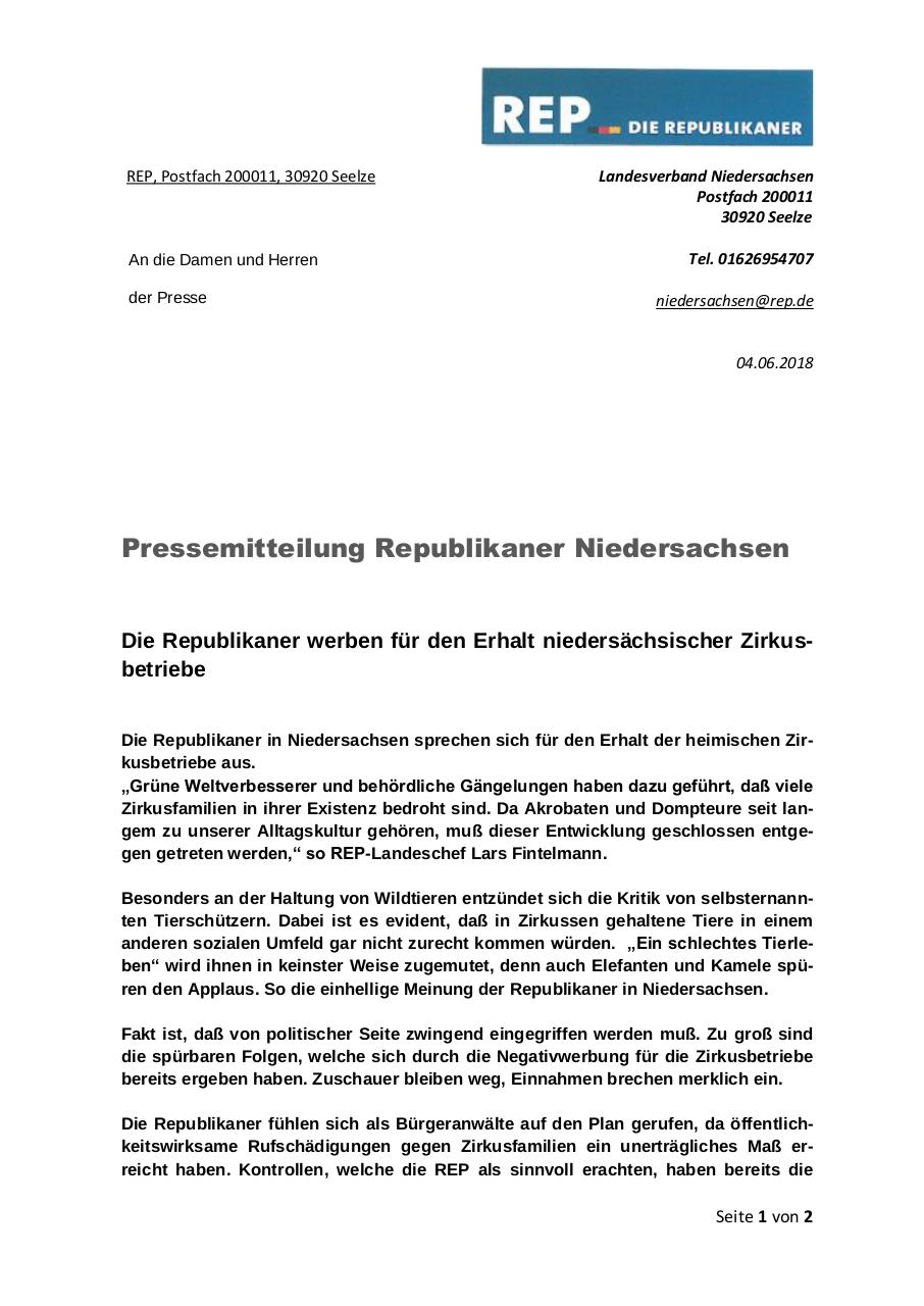 Document preview PM REP ZIRKUSBETRIEBE NETZ.pdf - page 1/2