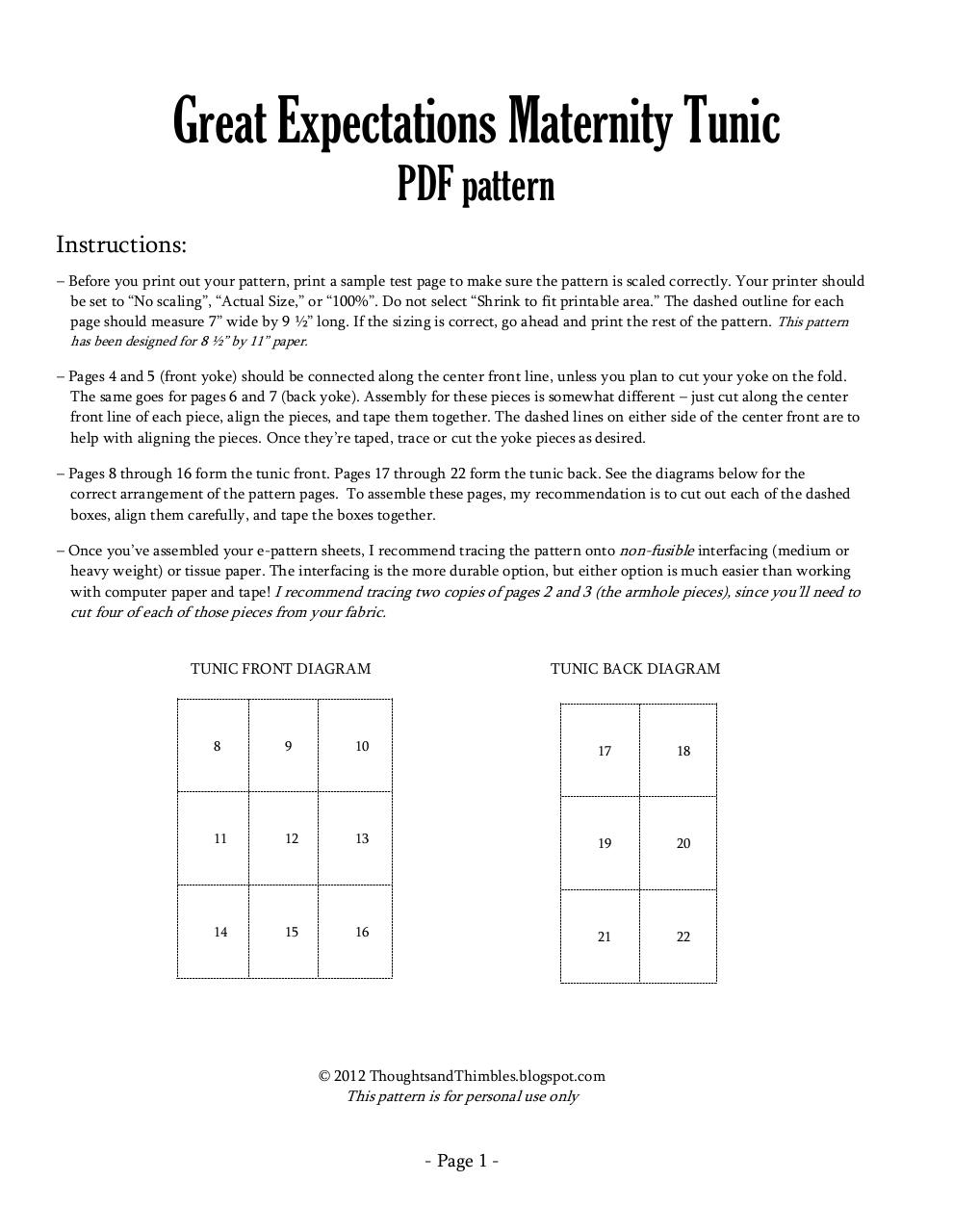 Great Expectations Maternity Tunic Pattern.pdf - page 1/22