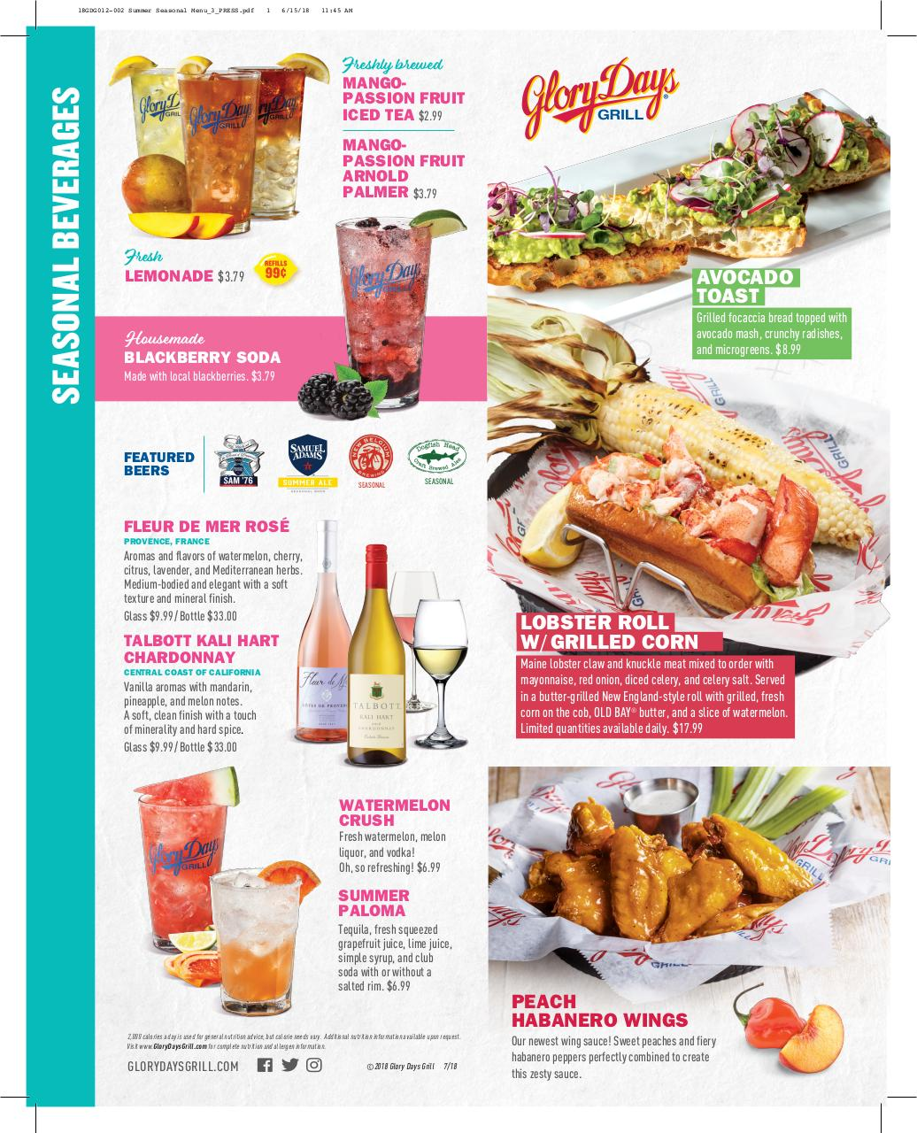 Document preview Glory Days Grill Summer Seasonal Menu 2018.pdf - page 1/2