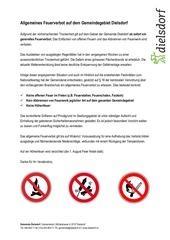 allgemeines feuerverbot auf dem gemeindegebiet dielsdorf