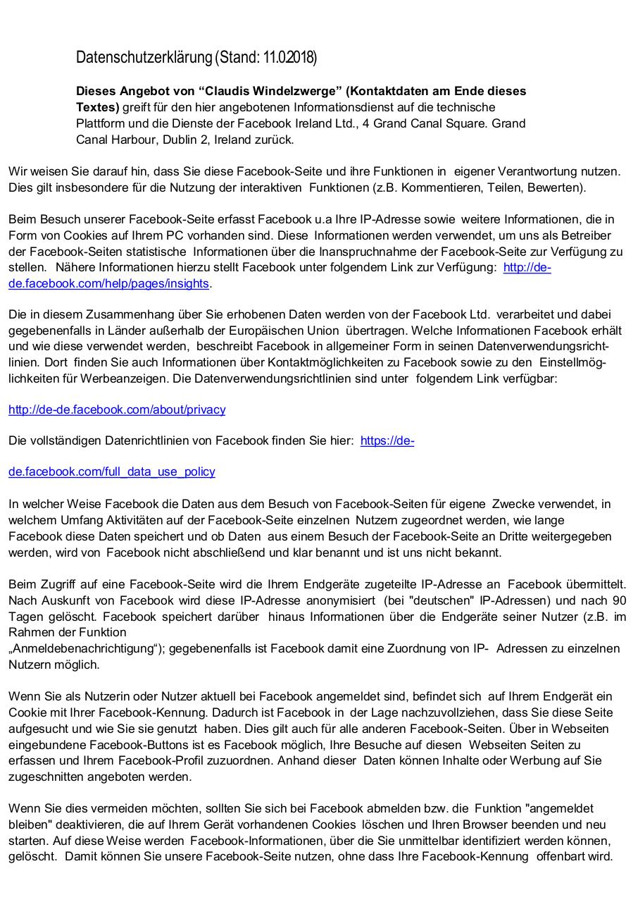 Document preview Datenschutzerklaerung_Facebook-final.pdf - page 1/2