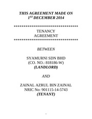 tenancy agreement for zainal azrul