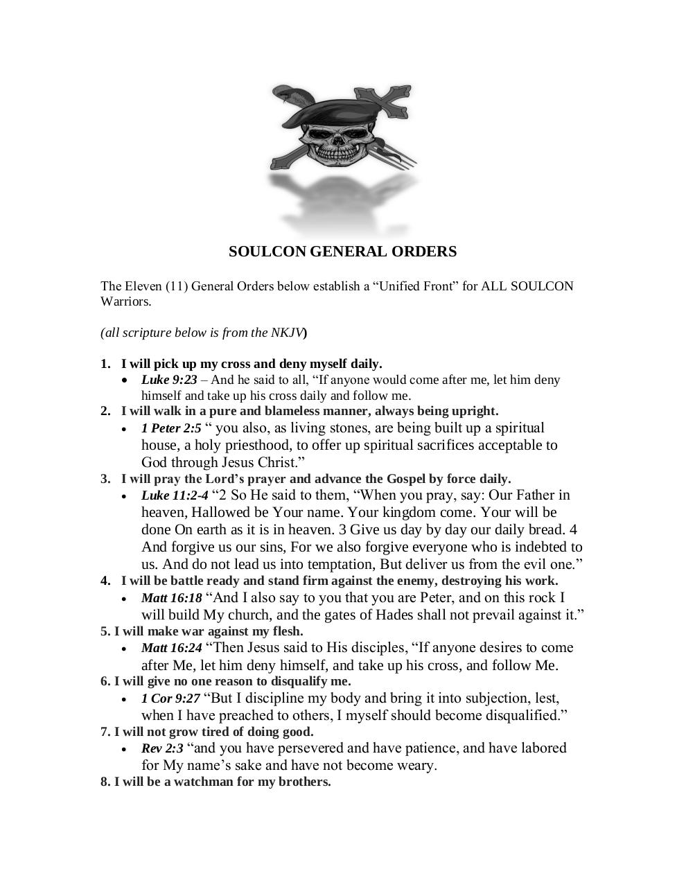 SOULCON General Orders Updated - PDF Archive