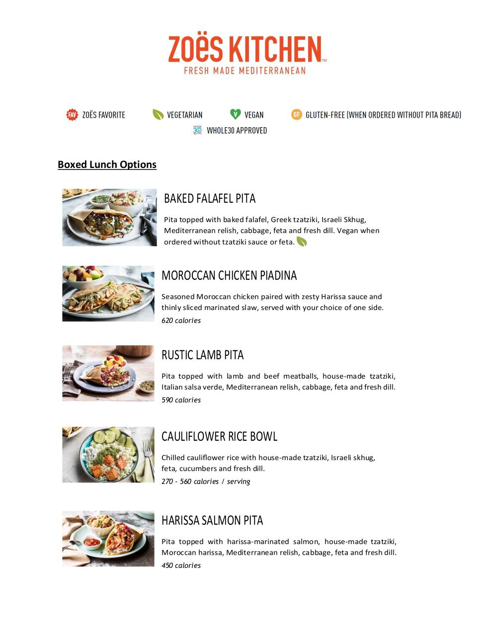 Zoes Kitchen Boxed Lunch Options By Holly Mccauley Pdf