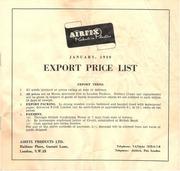 airfix january 1959 export price list