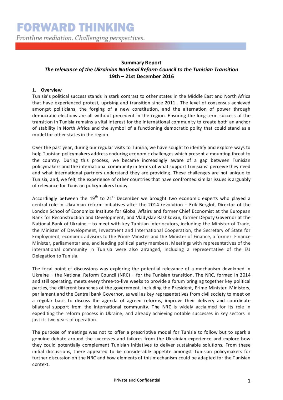 Forward Thinking Report - The potential relevance of the Ukrainian National Reform Council to the Tunisian Transition  - ~1.pdf - page 1/4