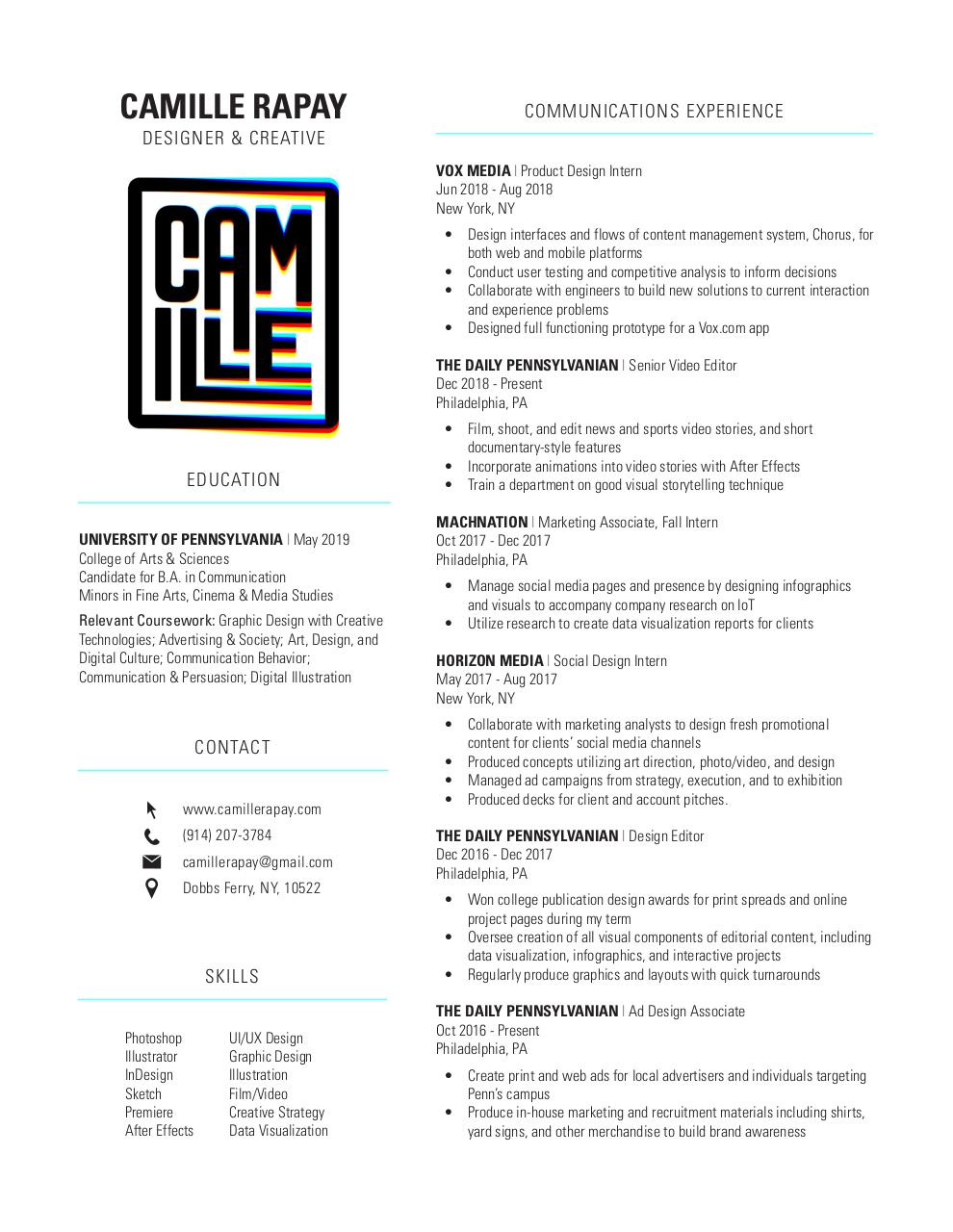 Document preview CamilleRapay_Resume_public.pdf - page 1/1