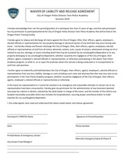 teen academy waiver form