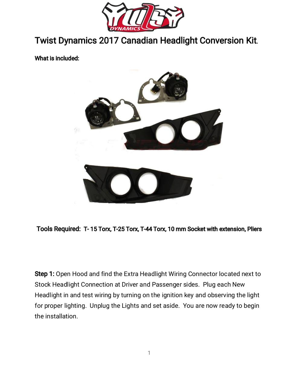 Document preview 2017 Canadian Headlight Conversion Kit Intalltion Manual.pdf - page 1/5