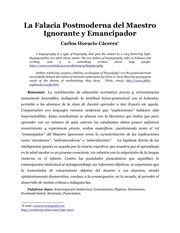 la falacia postmoderna del maestro ignorante y emancipador