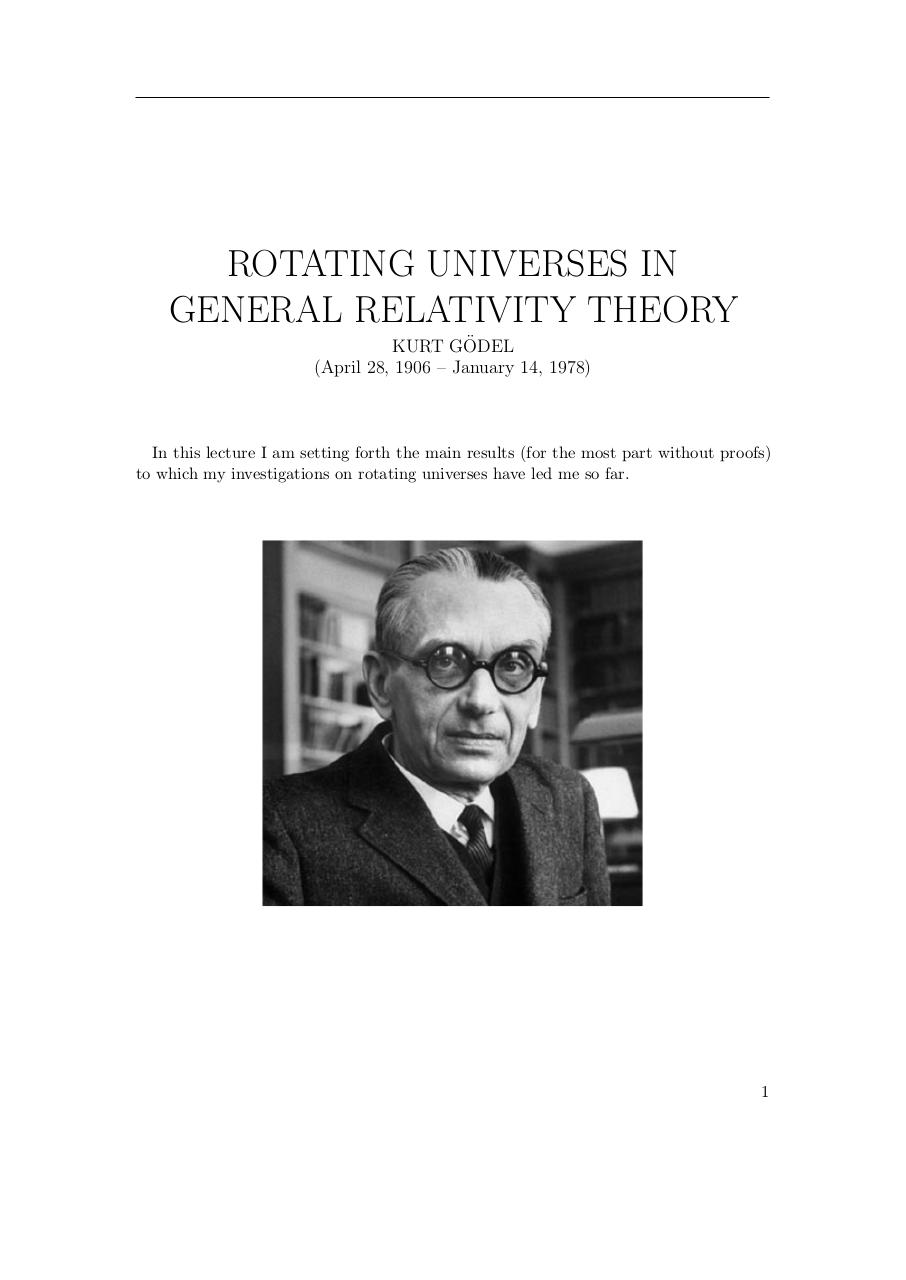 Kurt Gödel. Rotating Universes In General Relativity Theory.pdf - page 1/11
